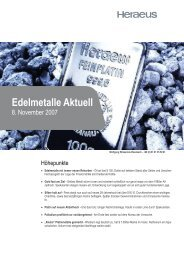 Edelmetalle Aktuell - Metals and Mining