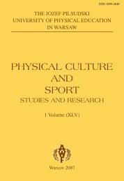 Physical culture and sPort - Akademia Wychowania Fizycznego