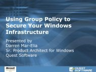 Using Group Policy to Secure Your Windows ... - Quest Software