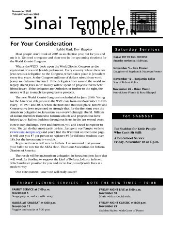 November 2005 Bulletin - Sinai Temple