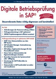 Seminar: Digitale Betriebsprüfung in SAP® - Management Circle AG