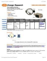 Flow Sensors, Fixed Orifice - Orange Research - PEC-KC.com