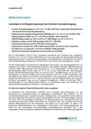 Medieninformation als PDF (127 KB) - voestalpine