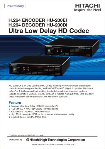 Ultra Low Delay HD Codec - Hitachi High Technologies America, Inc