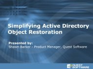 Simplifying Active Directory Restoration - Quest Software