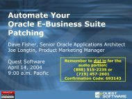 Automate Your Oracle E-Business Suite Patching - Quest Software