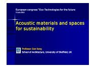 Acoustic materials and spaces for sustainability - Cd2e