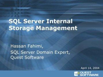 SQL Server Internal Storage Management - Quest Software