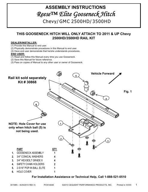 Reese 30051 16k reese 5th wheel hitch with square tube slider.