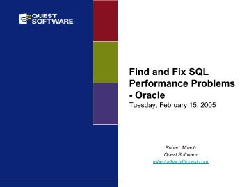 Find and Fix SQL Performance Problems - Oracle - Quest Software