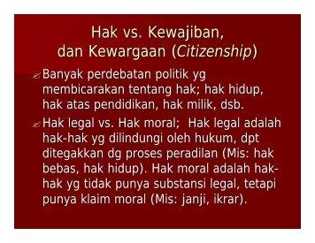 Hak, Kewajiban dan Kewargaan - Kumoro.staff.ugm.ac.id