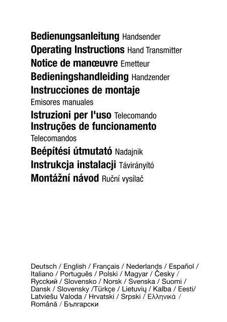 Bedienungsanleitung Handsender Operating Instructions Hand ...