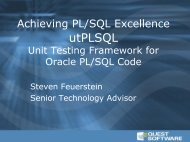 Introduction to utPLSQL - Quest Software