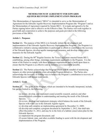 Revised MOA Committee Draft, 10/15/07 1 ... - EAHCP