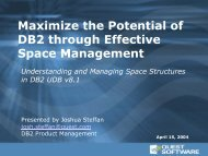 Maximize the Potential of DB2 through Effective Space Management