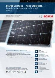 Starke Leistung – hohe Stabilität. Bosch Solar Module c-Si M 48