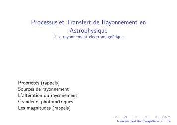 Le rayonnement électromagnétique - Laboratoire d'Astrophysique ...