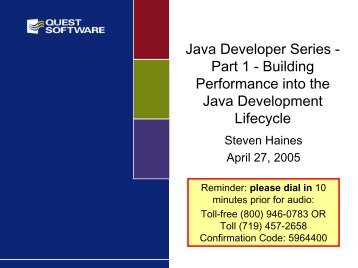 Java Developer Series - Quest Software