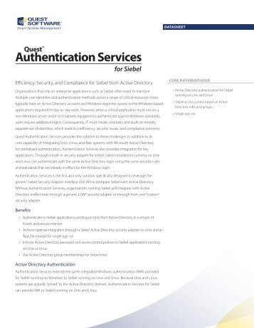 Authentication Services for Siebel - Quest Software