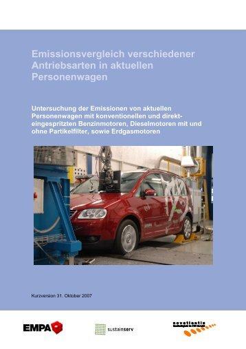 Emissionsvergleich verschiedener Antriebsarten in aktuellen - Empa