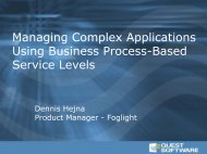 Managing Complex Applications Using Business ... - Quest Software