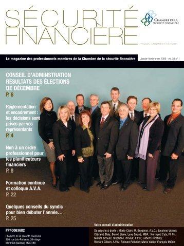 janvier-février-mars 2008 - Vol. 33 - No 1 - Chambre de la sécurité ...