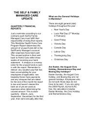 Self & Family Managed Care Peer Support Group Newsletter #1
