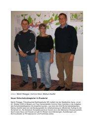 v.l.n.r.: Martin Rüegger, Corinne Gloor, Markus Zweifel Neuer ...