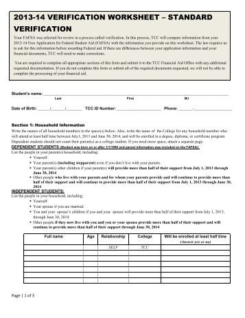 Printables Verification Worksheet Fafsa standard verification worksheet fafsa templates intrepidpath