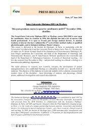 Inter-University Diploma (DIU) - Institut de Myologie
