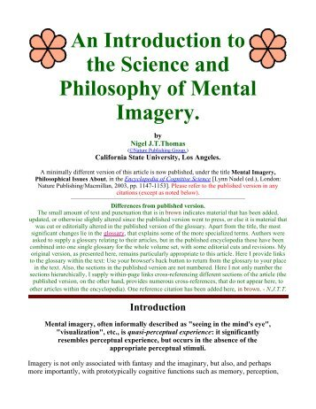 An Introduction to the Science and Philosophy of Mental Imagery.