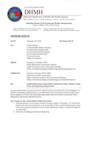memorandum - Dhmh - Maryland.gov