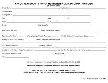 naccc yearbook - church membership data information form