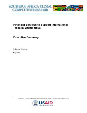 Financial Services to Support International Trade in Mozambique ...