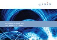 Technology Transfer from the University of Oxford - Isis Innovation