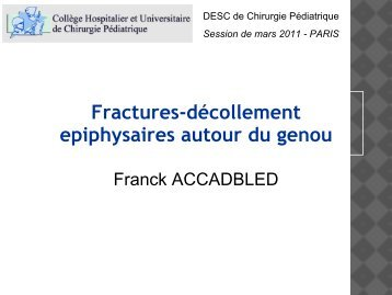 Fractures-décollements épiphysaires autour du Genou - SOFOP