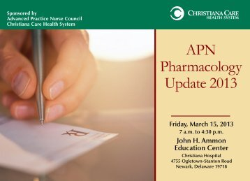 APN Pharmacology Update 2013 - Christiana Care Health System