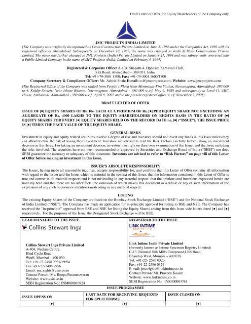 Draft Letter of Offer for Equity Shareholders of the