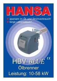Betriebsanleitung Blaubrenner HBV - Hansa Brenner