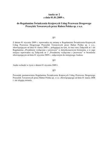 10. Aneks nr 2 do Regulaminu Świadczenia Usług - Raben