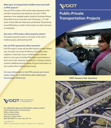 Public-Private Transportation Act - Virginia Department of ...