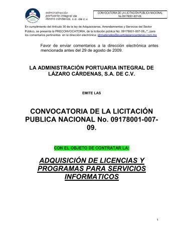 CONVOCATORIA DE LA LICITACIÓN PUBLICA NACIONAL No ...