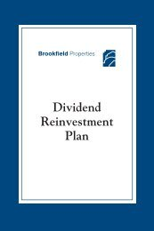 Dividend Reinvestment Plan - Brookfield Properties