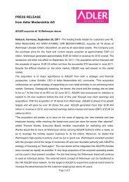 PRESS RELEASE from Adler Modemärkte AG