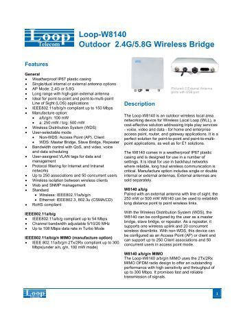 Loop-W8140 Outdoor 2.4G/5.8G Wireless Bridge