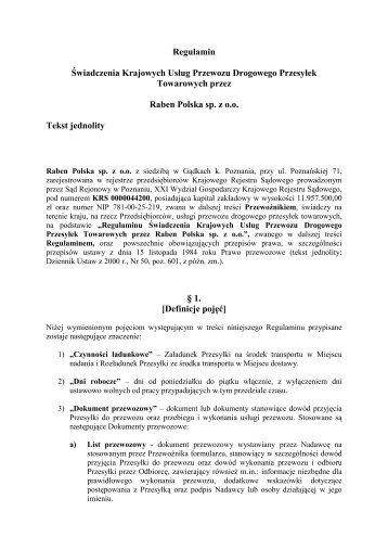 2. Regulamin Świadczenia Usług - Raben Logistics Polska