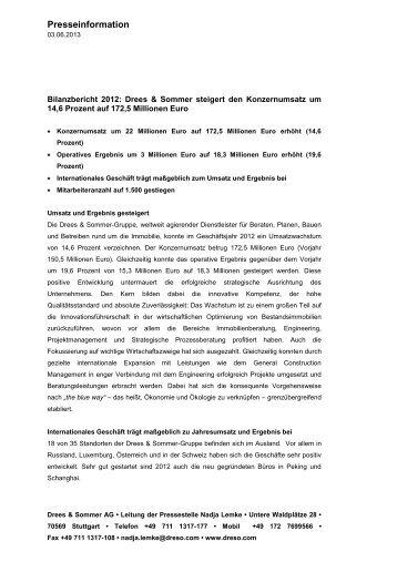 Presseinformation Drees Sommer steigert den Konzernumsatz um ...