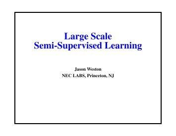 Large Scale Semi-Supervised Learning