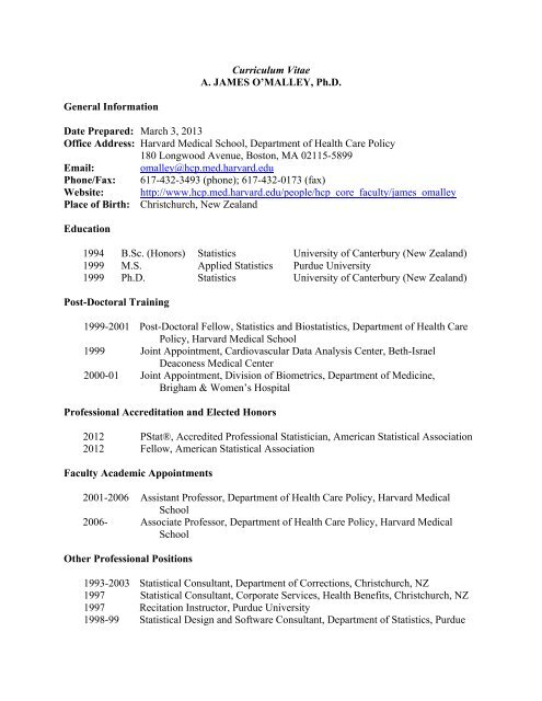 Curriculum Vitae A James O Malley Ph D General Information