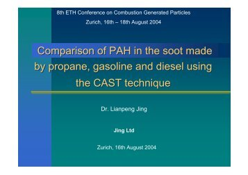 Comparison of PAH in the soot made by propane, gasoline - CAST ...